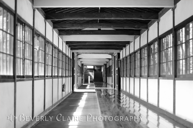 Buddhist Temple in Black and White – Passageway