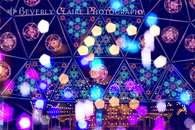 Colorful Psycedelic Lights and Shapes at Amusement Park