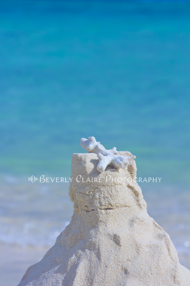Sand Castle with Coral Against Calm Turquoise Sea