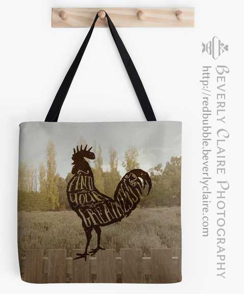 Find Your Greatness Rooster with Vintage-Style Typography by Beverly Claire Photography