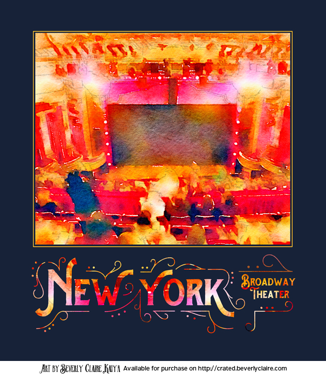 New York City Broadway Theater Digital Watercolor