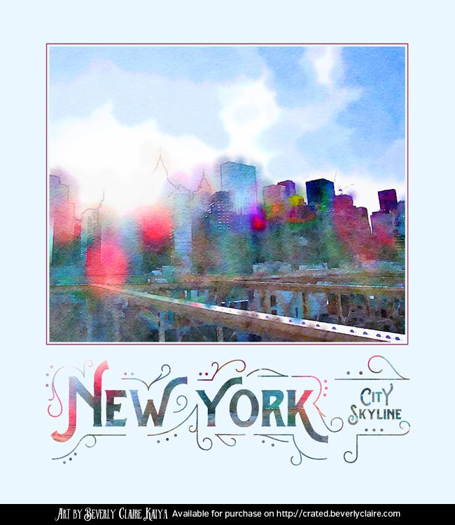 New York City Skyline Digital Watercolor