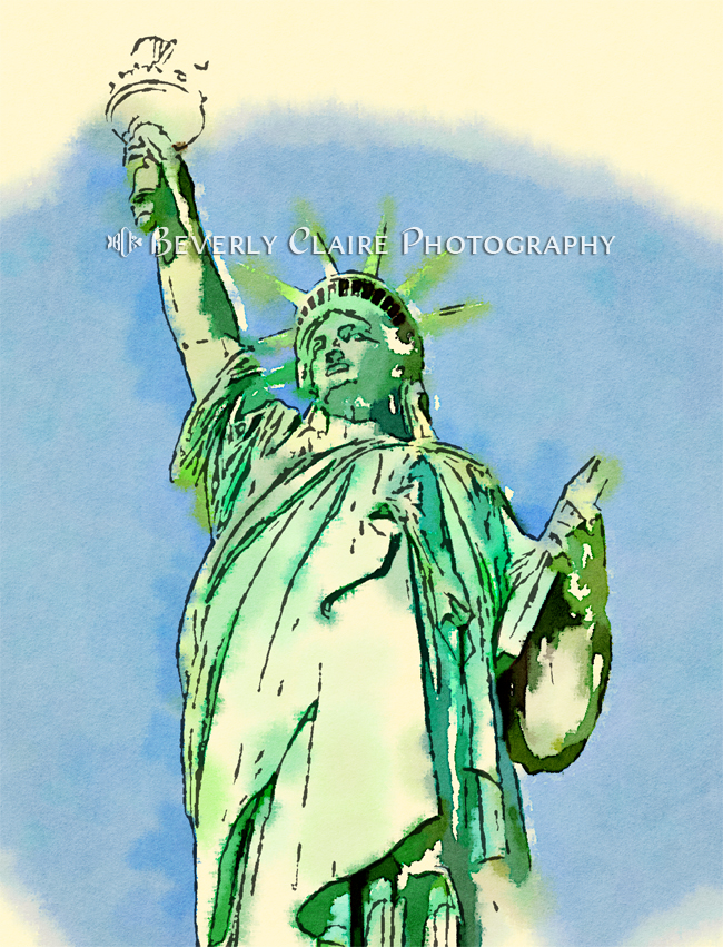 New York City Statue of Liberty Digital Watercolor