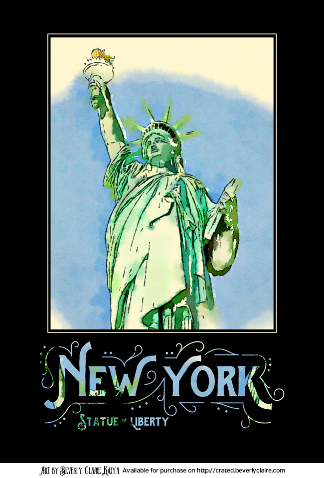 New York City Statue of Liberty Digital Watercolor 2