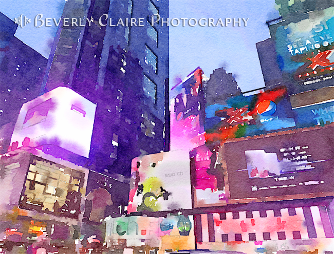 New York City Times Square Corner Night View Digital Watercolor