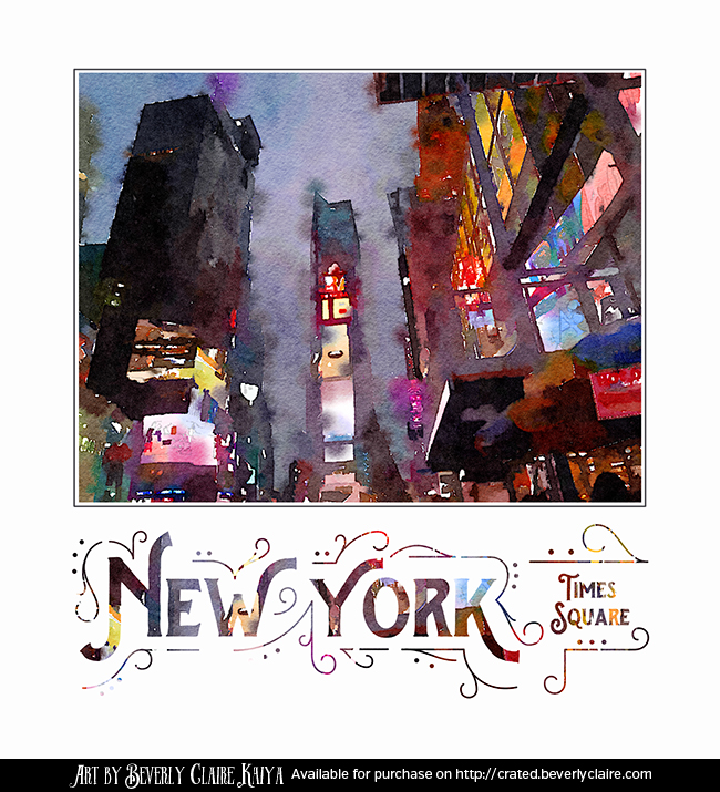 New York City Late Night Times Square Digital Watercolor