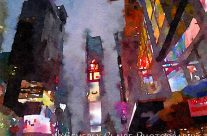 New York City Times Square Night View Digital Watercolor