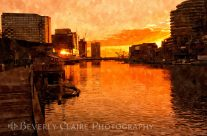 Yarra River Sunset As Seen From Promenade In Melbourne