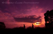 Elderly Couple at Lavender Field Sunset