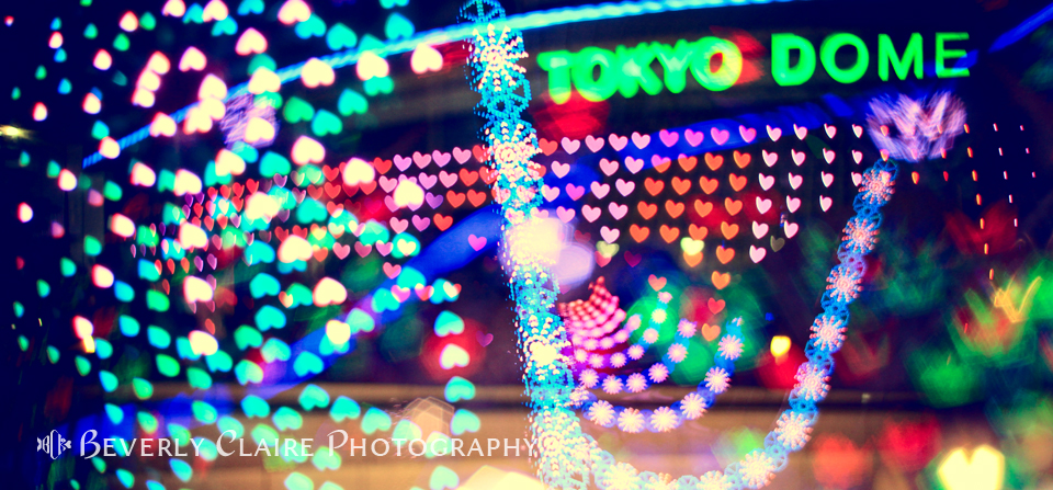 Love and Tokyo Dome with Colorful Psychedelic Heart Lights